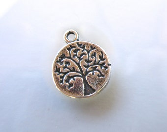 Sterling Silver 925 Tree of Life charm -10mm round-oxidized finish boho chic organic nature charm bracelets TREE01