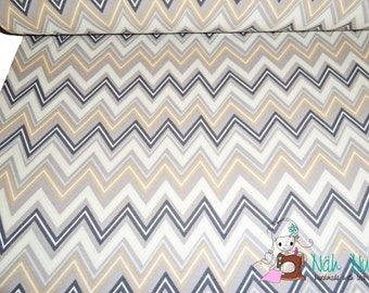 0,5 x 1,40 m Jersey Cotton Knit CHEVRON beige creme grey, 95/5% cotton/spandex - Zig Zag