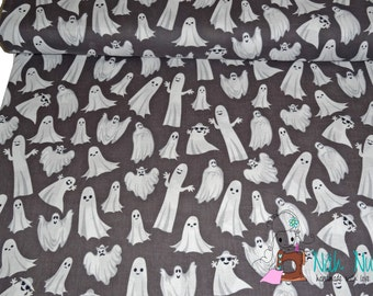 0,5 x 1,40 m COTTON fabric Gentle GHOST ghosts, 100% cotton, grey, white