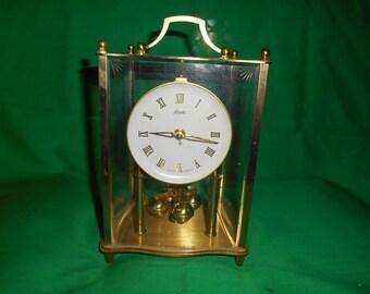 One (1), Vintage, Kundo, Kieninger & Obergfell, Key Wind, Brass Mantle Clock.