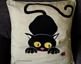 "SALE: Cat cushion pillow cover ""Black Cat"", handmade, appliqued, animal"