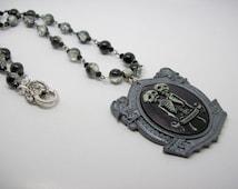 Siamese Twin Beaded Charm Necklace, Gargoyle, Gothic