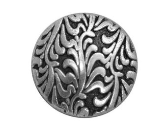 3 Fronds 3/4 inch ( 19 mm ) Metal Buttons Antique Silver Color