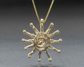 Spiral SUN 14k gold pendant solid gold necklace made in usa