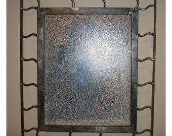Industrial Style Mirror, Soldered Steel Detailing