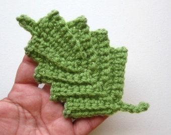 """1pc 6""""  Crochet Wide RIDGED LEAF Applique"""
