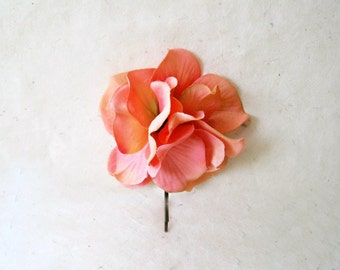 Tropical Hair Flower. Bright Coral Peach Fabric Flower Hair Pin. Vibrant Peach Hydrangea Bouquet Hair Clip for Summer Vacation + Weddings.