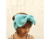Girls Knit Big Bow Headband - Aqua Teal Bow Head Band