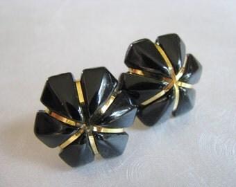 Vintage Black and Gold Colored Flower Stud Earrings -  Post Earrings