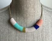 Crochet Vintage Necklace // Salmon, Blue + Olive Green