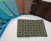 Teal and Brown Fancy Fabric Kit for Crazy Quilts, Etc.