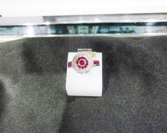 Ladies, Vintage, 14 Karat, White, Gold, Diamond, Ruby, Ring