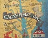 Chesapeake Bay  Map style  Print  ,art,decor