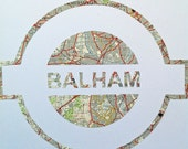 Vintage Map Art // LONDON UNDERGROUND // hand made paper cut from a vintage map of Greater London // BALHAM Tube station