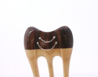 Wooden hair fork, 3 prong, Hair sticks, Wood, Ipe wood, Ash wood, Sterling silver 925, Handmade, Hair accessory, WoodArtJewelry