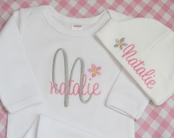 COMING HOME GOWN and Hat Personalized Girl Layette Blossom Outfit Newborn Baby Monogram Name Leaving Hospital Long Sleeve