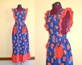 1970s Vintage Beco Originals Pinafore Apron Dress size S waist 27