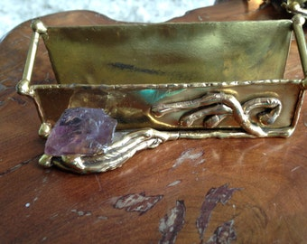 Brazilian Copa Collection Brass and Amethyst Business Card Holder by Ernandes Brutalist Canvalhu