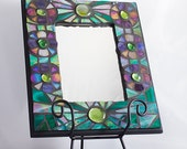 """Rainbow Flower Stained Glass Mosaic Framed Mirror Glass Mosaic Famed Mirror Iridescent Emerald Green & Purple 11 1/4"""" x 9 1/4"""""""
