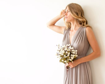 Taupe maxi formal gown , Bridesmaids taupe long gown 1003