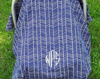 Car Seat Cover Navy Herringbone Car Seat Cover / Modern Car Seat Cover / Car Seat Tent / Car Seat Canopy / Baby Car Seat Cover / Monogrammed