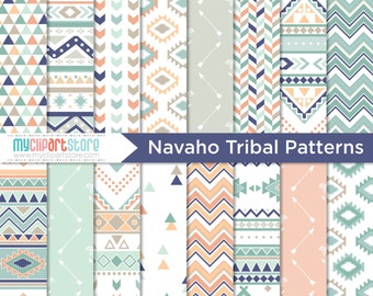 Digital Paper - Navajo / Aztec / Ethnic / Tribal / Native American Indian / Geometric Patterns - Instant Download