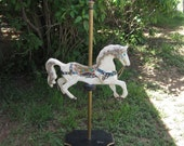 Vintage Wooden Handcarved Carousel Horse on Pole