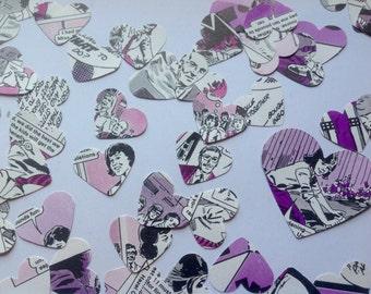 comic book confetti - vintage heart confetti - 150 hearts - Judy for Girls Annual - wedding confetti - table decor - purple confetti