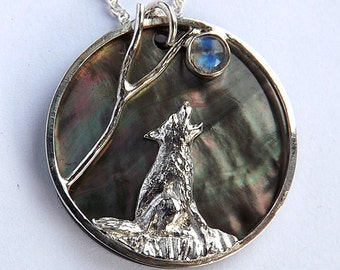 Wolf and Moon Pendant,  Moonstone Pendant, Sterling Silver, Black Lip Pearl, Custom made