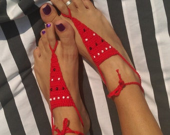 Crochet barefoot sandals - Red with black and white beads
