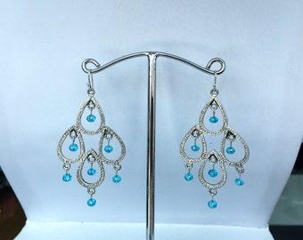 Blue CZ Chandelier Earrings