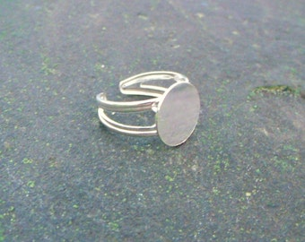 Adjustable Sterling Silver Ring with 13mm Pad