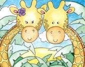 "Giraffe Greeting Card - Print - 7"" x 5"""