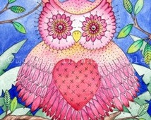 "Owl Greeting Card - Whimsical Animals - 7"" x 5"""