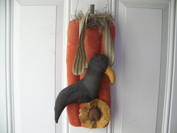 RESERVED LISTING for HEIDI Fall Pumpkin, Crow, and Sunflower Primitive Fabric Door Greeter/Wall Hanger