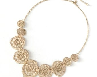 Gold Metal Lace Filigree Statement Necklace