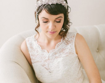 Crystal Bridal Headband with Hanging Flowers, Crystal Headpiece with Crystals Chains #213HB