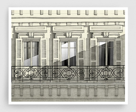 Paris balcony paris illustration art home decor wall decor for Balcony wall decoration