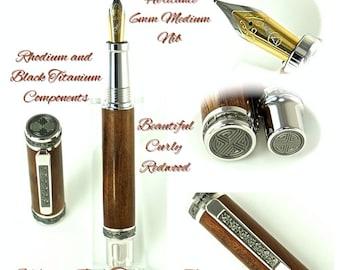 Custom Wooden Pen Beautiful Curly Redwood Custom Fountain Pen with Emperor Rhodium and Black Titanium 799FPXLC