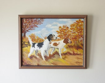 Vintage Hunting Dog Painting - Framed Painting - Cabin Decor