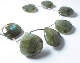 Large Green Labradorite Faceted Briolette Beads 21mm - 24mm