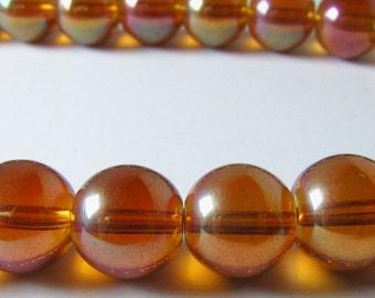 Orange Mystic Coated Titanium Quartz Glass Round Ball Beads 9mm - 10mm