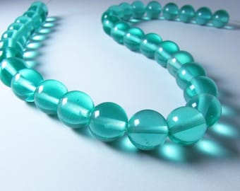 Apatite Teal Green Quartz Color Glass Round Ball Beads 11mm - 12mm