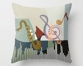 Decorative Throw Pillow Musical, Pillow Cover, Music Pillow, colourful Pillow, Cute Pillow, Pillow Case, Geometric Pillow, Music Gift