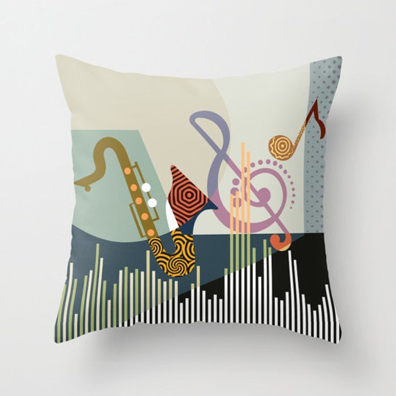 Decorative Throw Pillow Musical, Pillow Cover, Music Pillow, colourful Pillow, Cute Pillow, Pillow Case, Music Gift