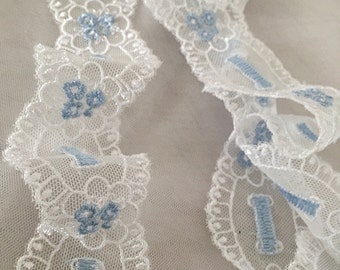 light blue lace trim, off white embroidered lace