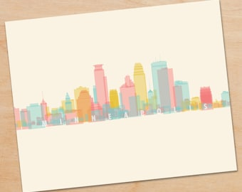 Minneapolis Skyline Print, Minneapolis Print, Minneapolis Art, skyline prints, wall art, skyline art, home decor, poster