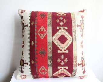 Traditional Turkish Kilim Pillow Cover , Red and İvory Kilim Pillow Case , Two Sided Pillow Cover