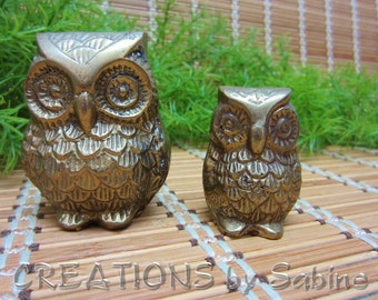 Brass Owls Set of 2 Owl Figurines Hoot Woodland Bird Animal Wildlife Figurine Big Small Mother Child Vintage FREE SHIPPING (364)