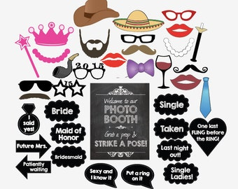 Bachelorette photo booth props DIY printable party games wedding shower engagement